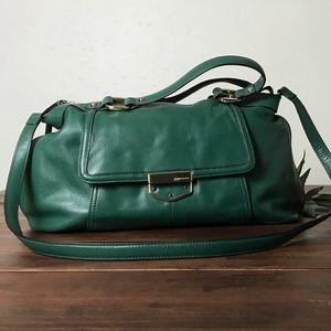 B. Makowsky Leather- Green Convertible Satchel